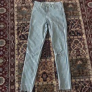 Zara TRF Striped Skinny Jeans Size 6
